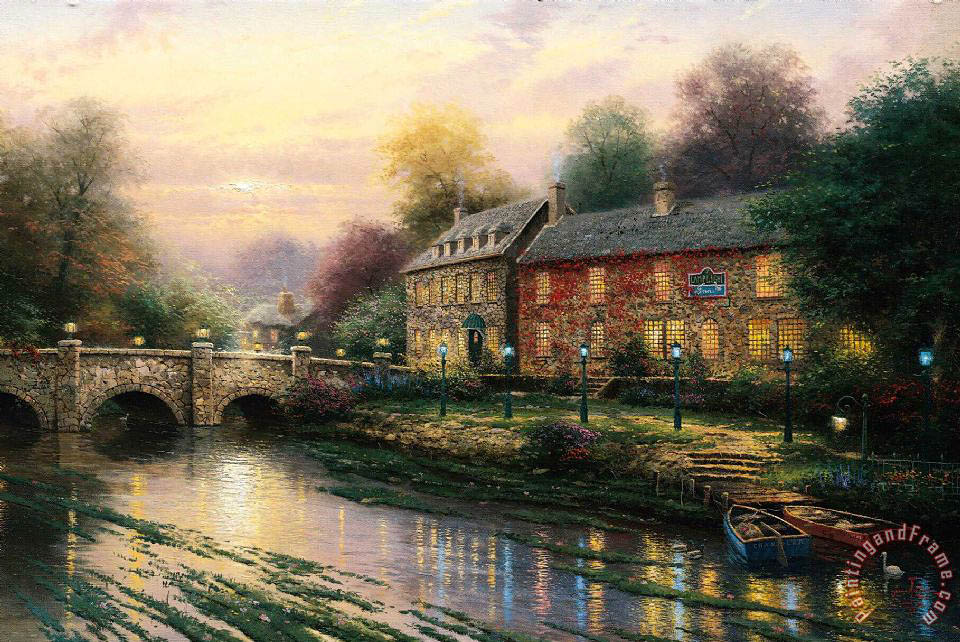 thomas kinkade lamplight inn painting lamplight inn With the lamp light inn