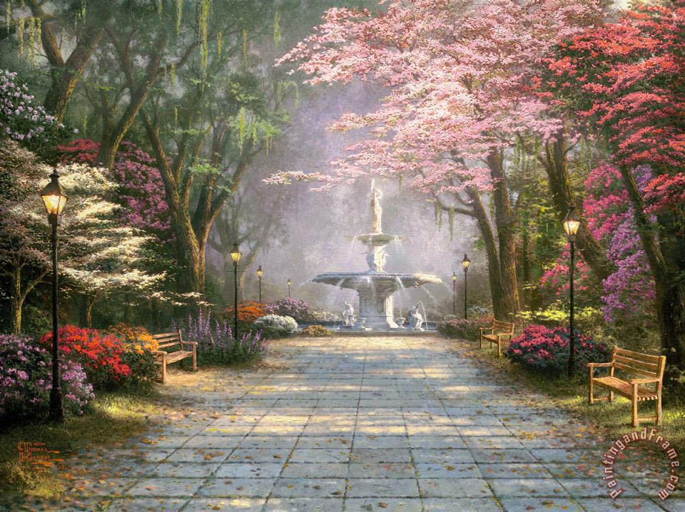 Thomas Kinkade Savannah Romance Painting Savannah Romance Print For Sale