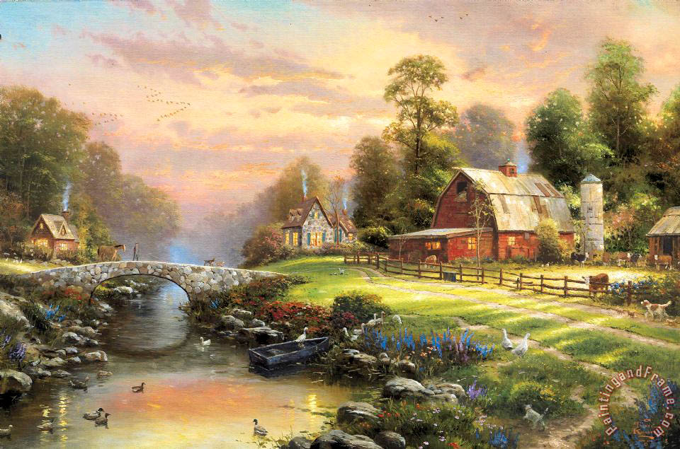 Thomas Kinkade Sunset at Riverbend Farm Art Painting for ...