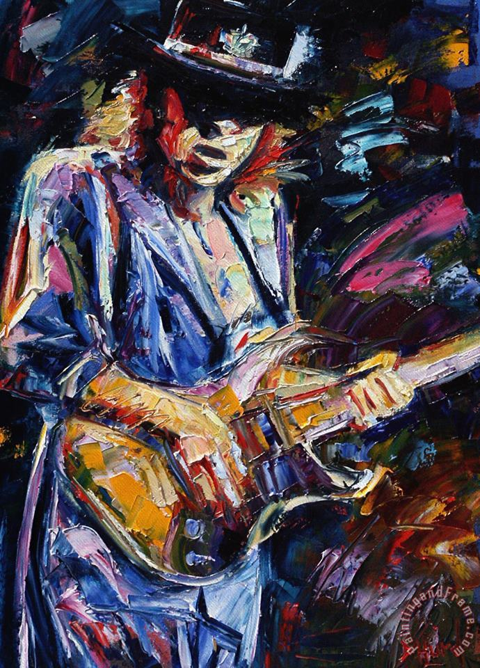 Stevie Ray Vaughan painting - Debra Hurd Stevie Ray Vaughan Art Print