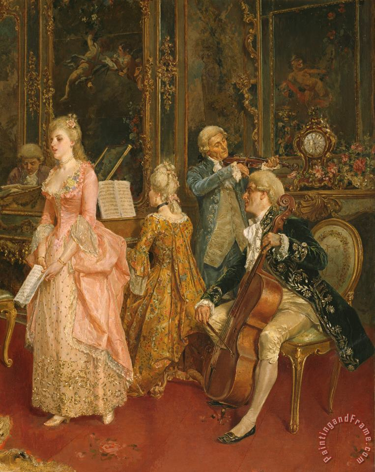 Concert at the time of Mozart painting - Ettore Simonetti Concert at the time of Mozart Art Print