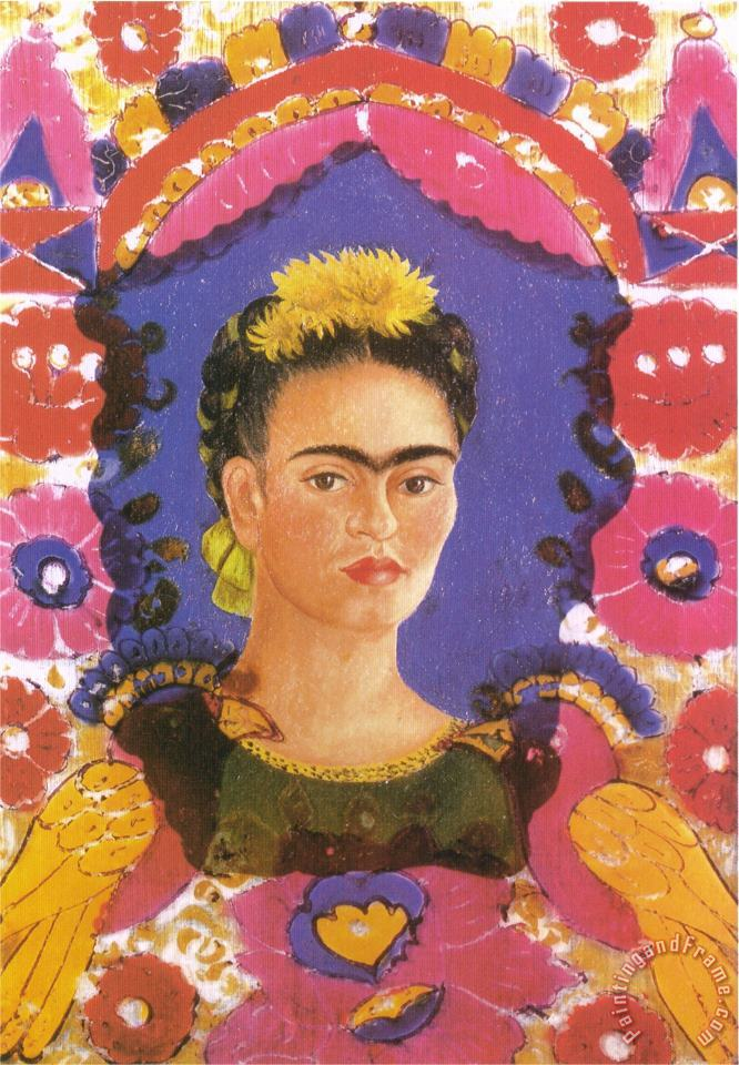 Frida Kahlo Self Portrait The Frame 1938 Art Print