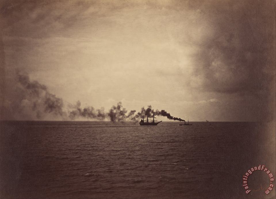 Seascape with Sailing Ship And Tugboat painting - Gustave Le Gray Seascape with Sailing Ship And Tugboat Art Print