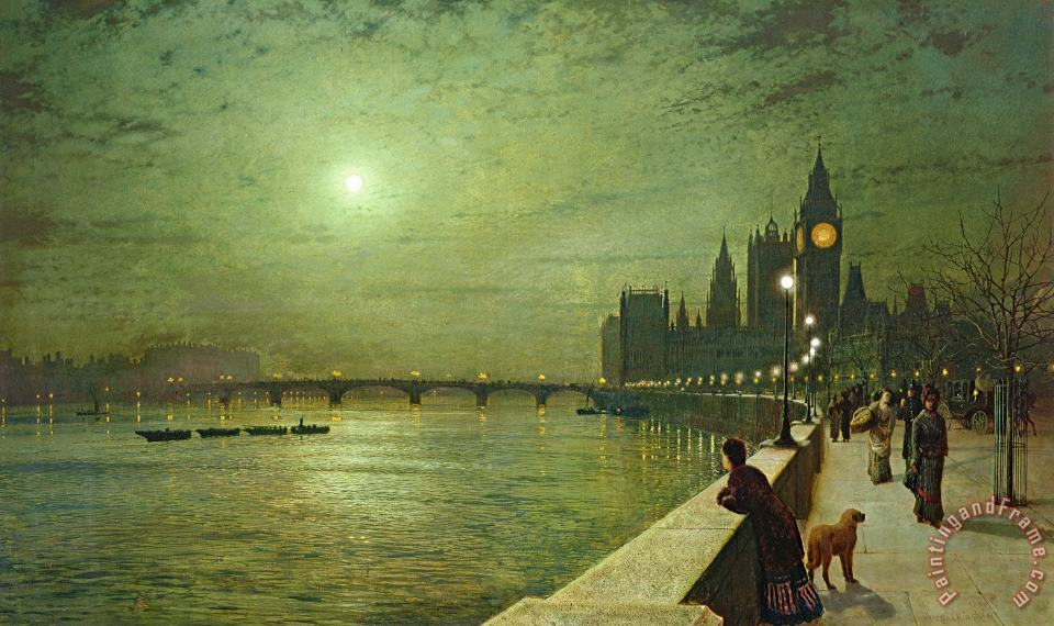 Reflections on the Thames painting - John Atkinson Grimshaw Reflections on the Thames Art Print