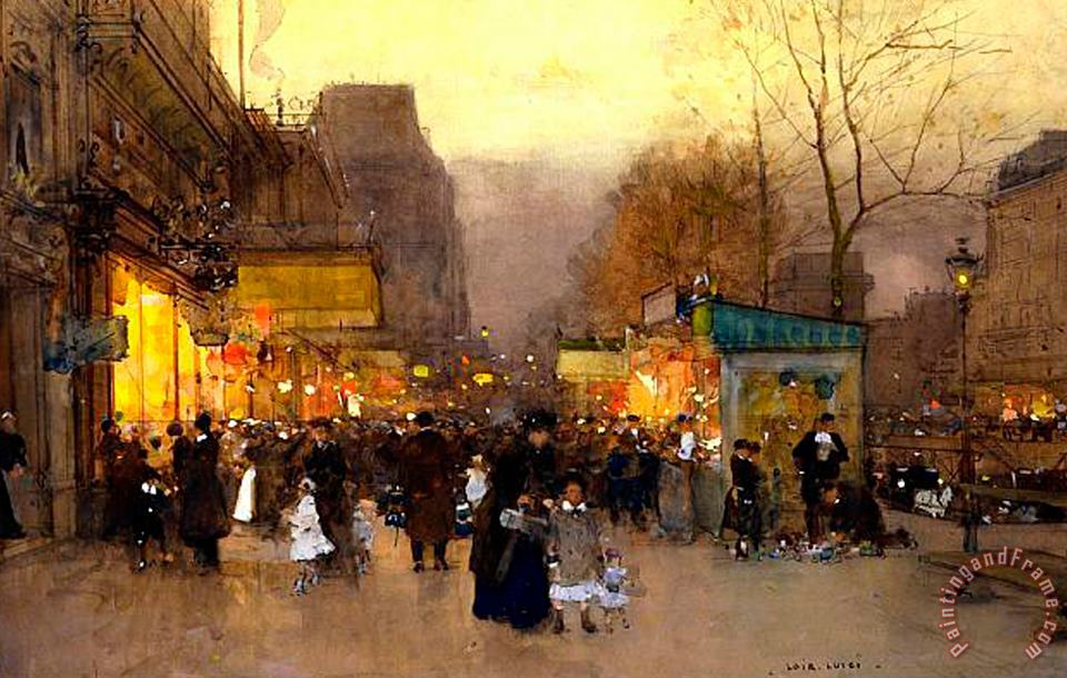 Luigi Loir Porte St Martin at Christmas Time in Paris Art Painting