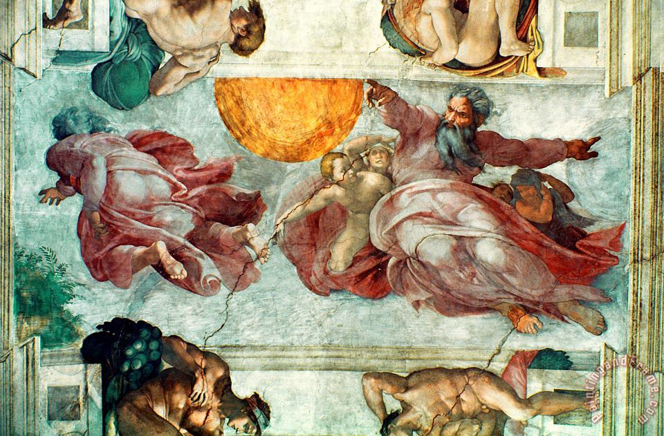 Sistine Chapel Ceiling Creation of the Sun and Moon painting - Michelangelo Sistine Chapel Ceiling Creation of the Sun and Moon Art Print