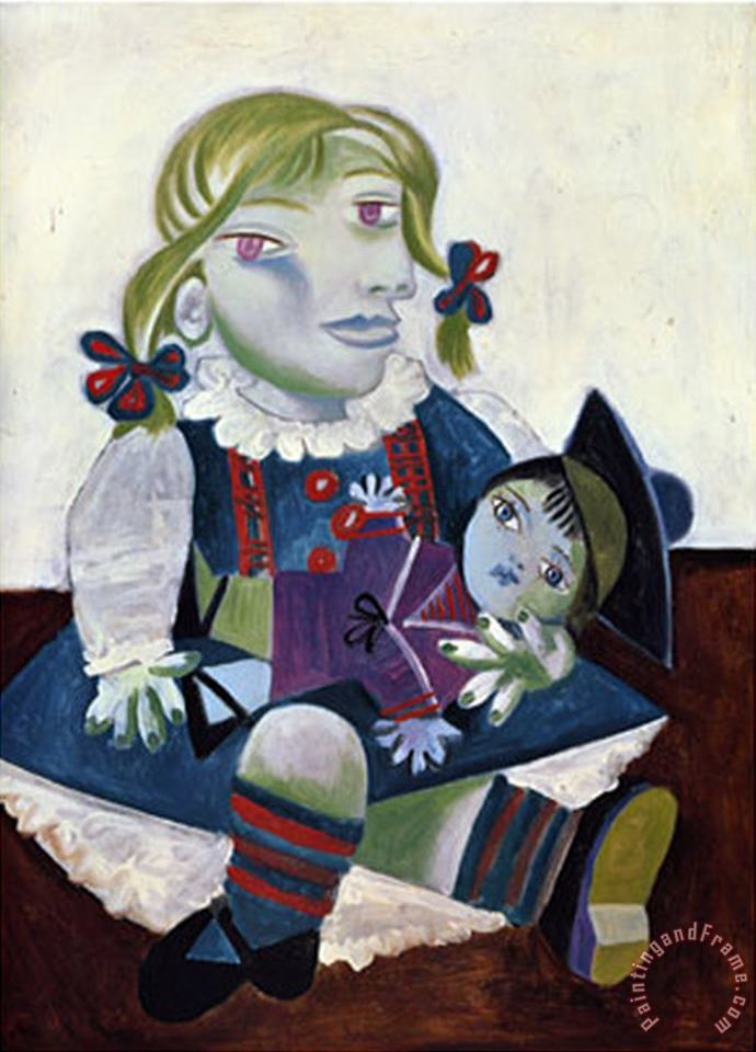 Portrait of Maya with Her Doll C 1938 painting - Pablo Picasso Portrait of Maya with Her Doll C 1938 Art Print