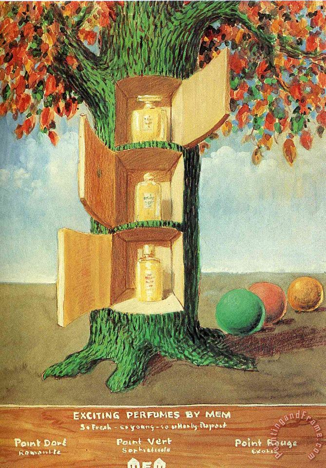 Poster Exciting Perfumes by Mem 1946 painting - rene magritte Poster Exciting Perfumes by Mem 1946 Art Print
