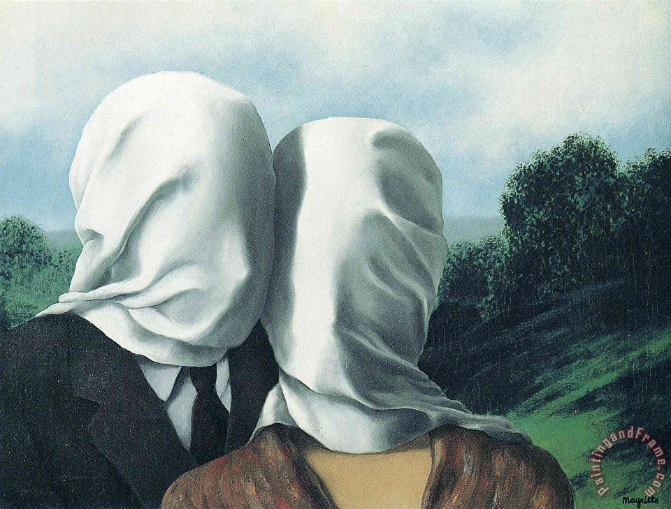 The Lovers 1928 1 painting - rene magritte The Lovers 1928 1 Art Print