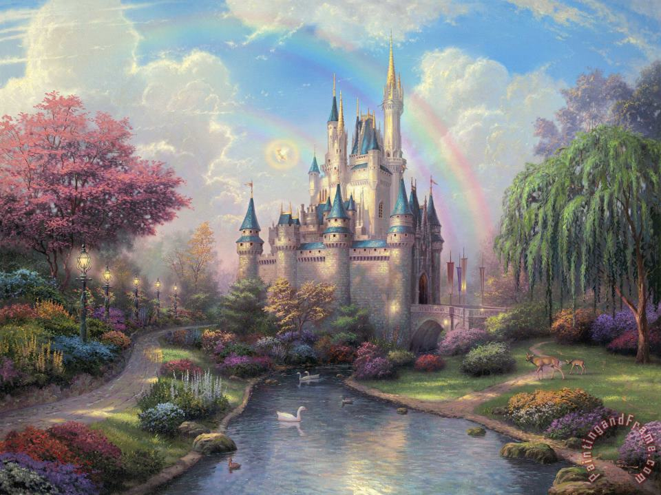 A New Day at The Cinderella Castle painting - Thomas Kinkade A New Day at The Cinderella Castle Art Print