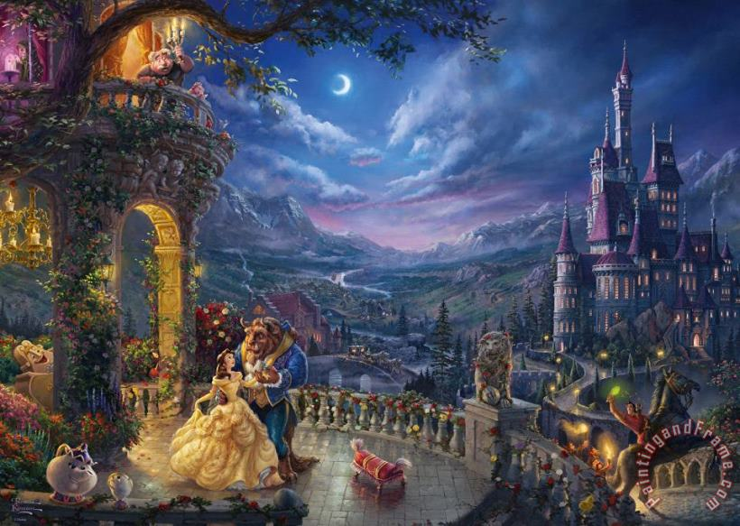 Thomas Kinkade Beauty and the Beast Dancing in the Moonlight Art Print