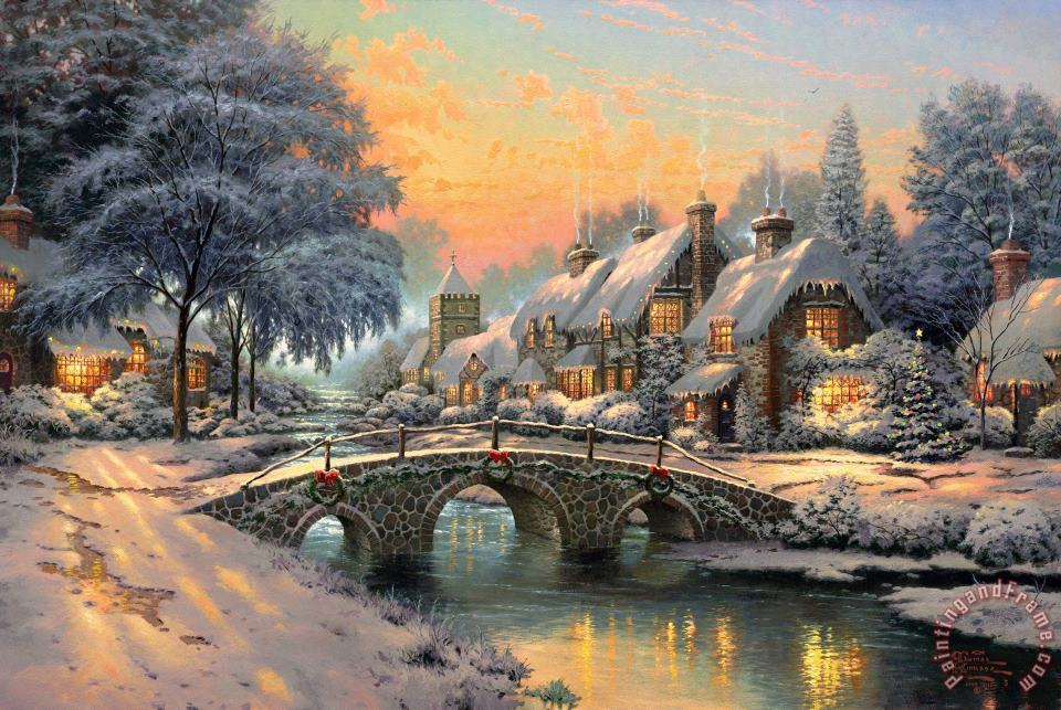 Thomas Kinkade Cobblestone Christmas Art Painting