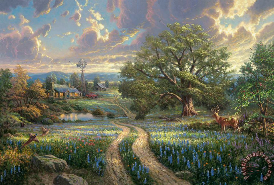 Country Living painting - Thomas Kinkade Country Living Art Print