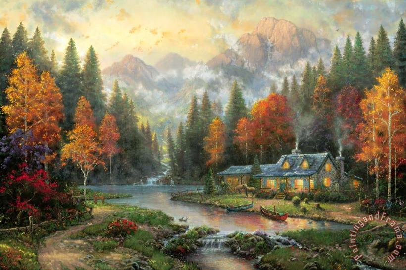 Evening at Autumn Lake painting - Thomas Kinkade Evening at Autumn Lake Art Print