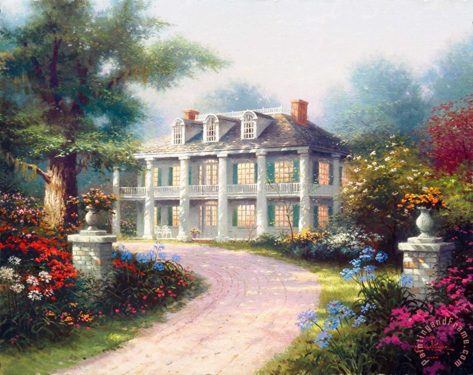 Homestead House painting - Thomas Kinkade Homestead House Art Print