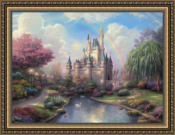 Thomas Kinkade A New Day At The Cinderella Castle Framed