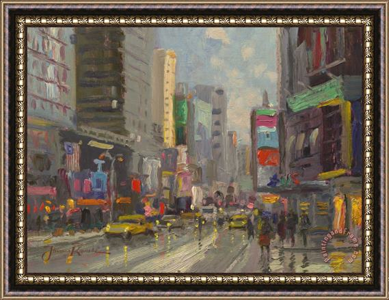 Thomas Kinkade Time Square Framed Print