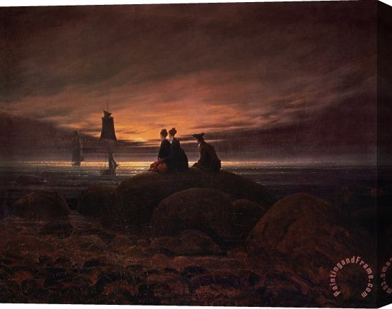 Caspar David Friedrich Moon Rising Over the Sea Stretched Canvas Print / Canvas Art