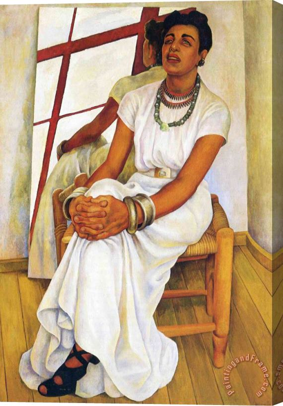 Diego Rivera Portrait of Lupe Marin 1938 Stretched Canvas Print / Canvas Art
