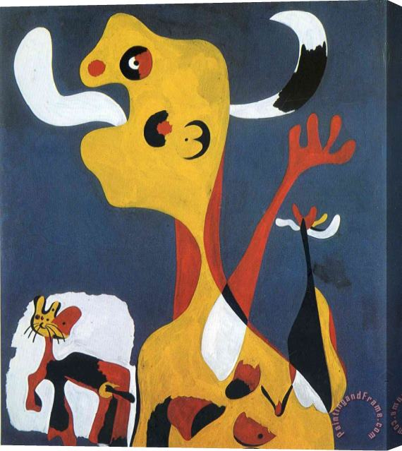 Joan Miro Woman And Dog in Front of The Moon, 1935 Stretched Canvas Print / Canvas Art