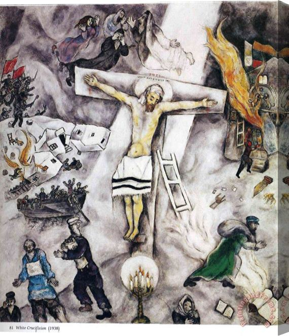 Marc Chagall White Crucifixion 1938 Stretched Canvas Painting / Canvas Art