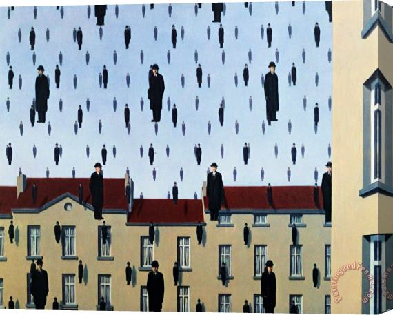 rene magritte Golconde Stretched Canvas Print / Canvas Art