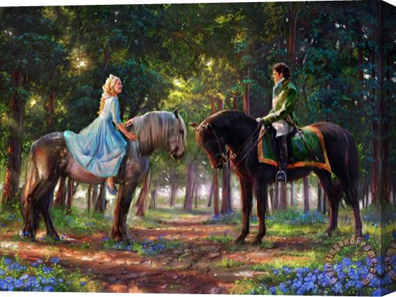 Thomas Kinkade Romance Awakens Stretched Canvas Print / Canvas Art