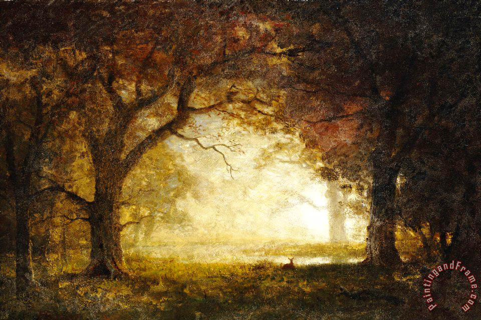 Albert Bierstadt Forest Sunrise Painting Forest Sunrise
