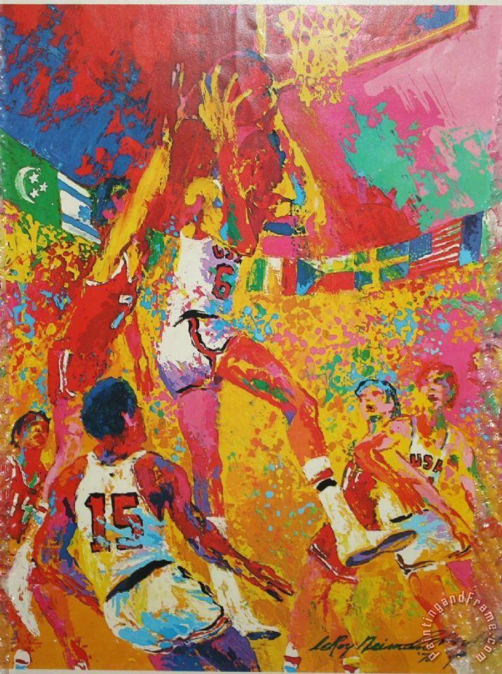 Leroy Neiman Olympic Basketball Painting Olympic