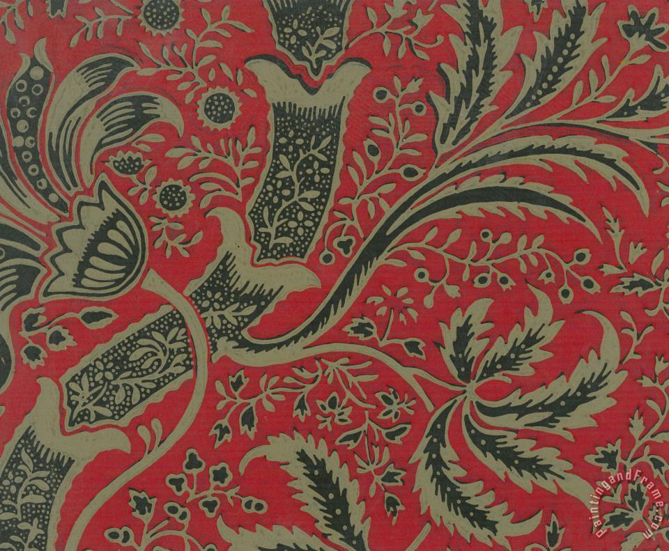 William Morris Wallpaper Sample With Bamboo Pattern